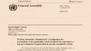 UNHRC: Human Rights Organization Submits Statement Calling Attention to The Church of Almighty God