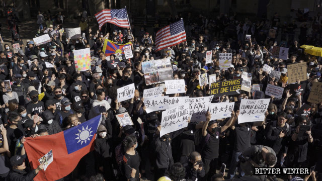 """The """"Global Anti-Totalitarianism"""" march and rally was held in Sydney, Australia."""