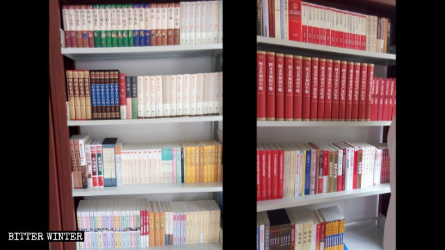 Books about Xi Jinping in the library of a Three-Self church in Zhengzhou city.